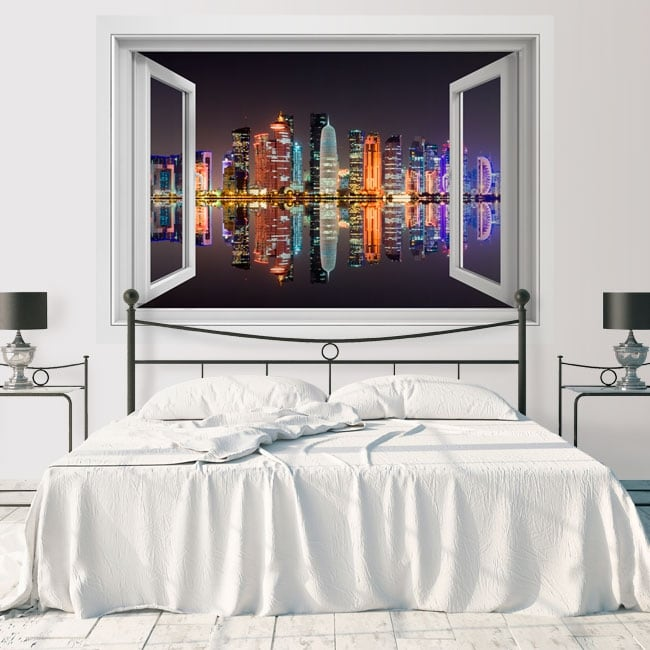 Vinyle fenêtre ville de doha qatar 3d