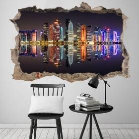 Vinyle doha city qatar trou de mur 3d