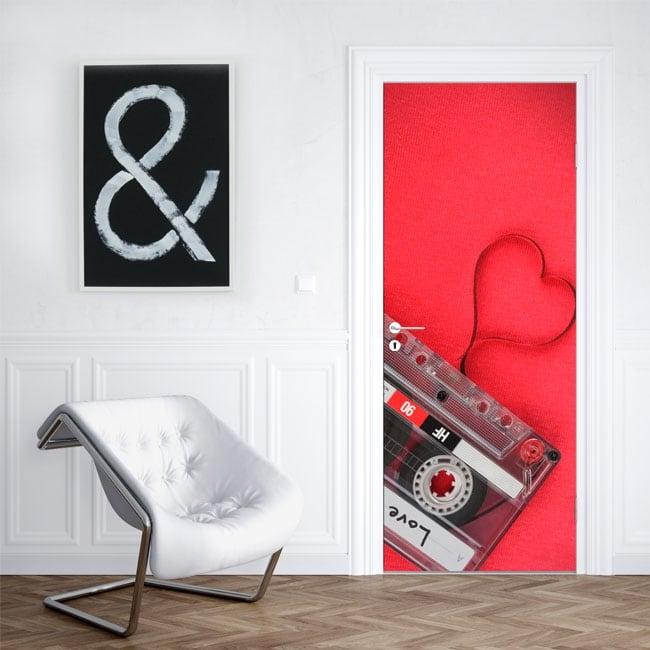 Vinyle pour portes cassette coeur amour