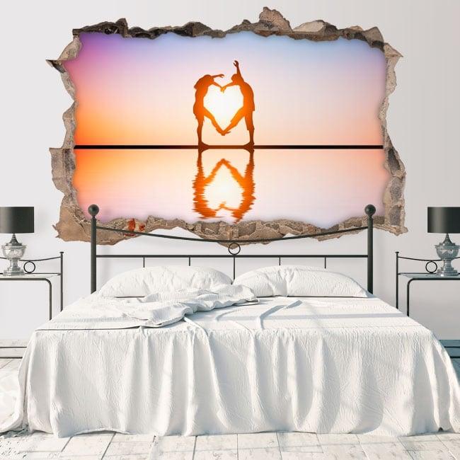 Vinyle mur de trou silhouettes de coeur 3d