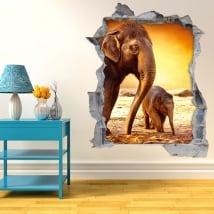 Vinyle mur de trou les éléphants crépuscule 3d