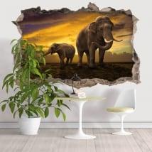 Vinyle mur de trou éléphants 3d