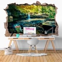 Vinyle mur de trou cascade nature 3d
