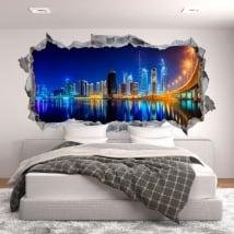 Vinyle mur de trou panoramique business bay dubaï 3d