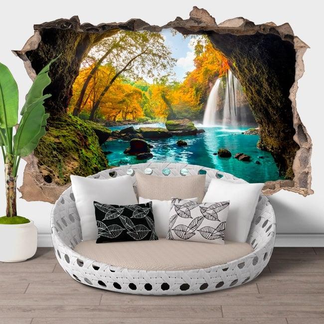 vinyle mur de trou chutes d 39 eau heo suwat thailande 3d. Black Bedroom Furniture Sets. Home Design Ideas