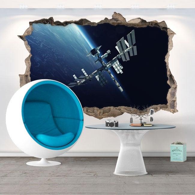 Vinyle mur de trou station spatiale 3d
