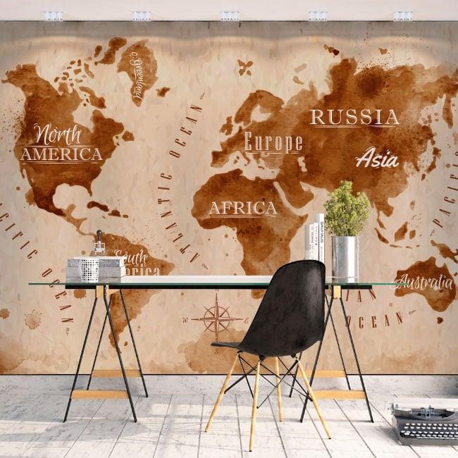 Papiers peints en vinyle carte du monde éclabousse le café