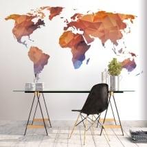 Vinyle et autocollants carte du monde polygonale