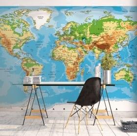 Murales de vinyle pour décorer carte du monde