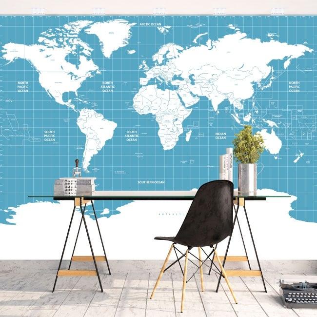 Murales vinyles carte du monde pour décorer