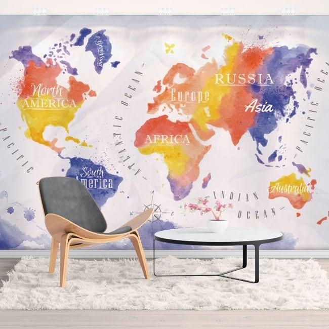 Murales vinyles carte du monde aquarelle