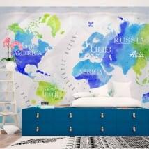 Papiers peints sur vinyle carte du monde aquarelle