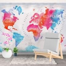 Papiers peints décoratif carte du monde aquarelle