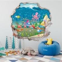 Vinyle pour enfants poisson mur de trou 3d