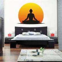 Vinyle adhésif et autocollants silhouette d'yoga