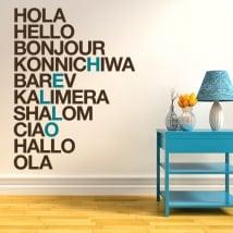 Vinyle et autocollants bonjour en plusieurs langues