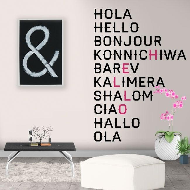 Vinyle décoratif bonjour en plusieurs langues