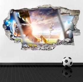 Football de vinyle cassé mur 3D