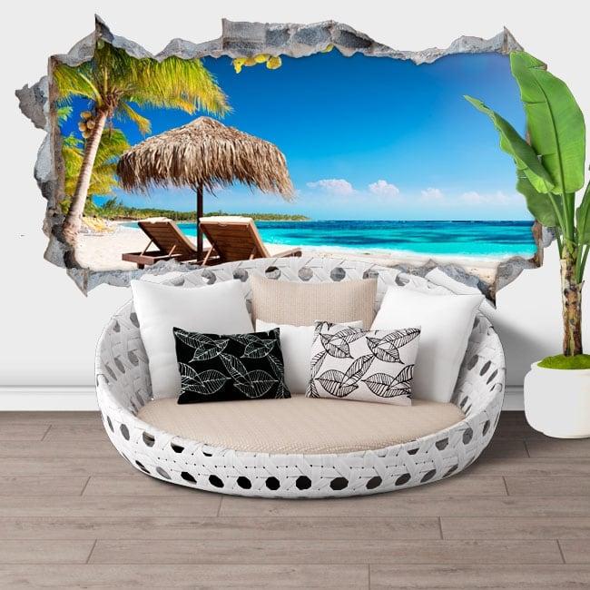 Stickers muraux île tropicale panoramique 3d