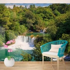 Peintures murales en vinyle cascades nature tropicale