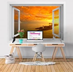 Vinyle murs coucher de soleil sur la plage barbade 3d