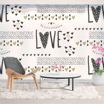 Peintures murales en vinyle coeurs d'amour