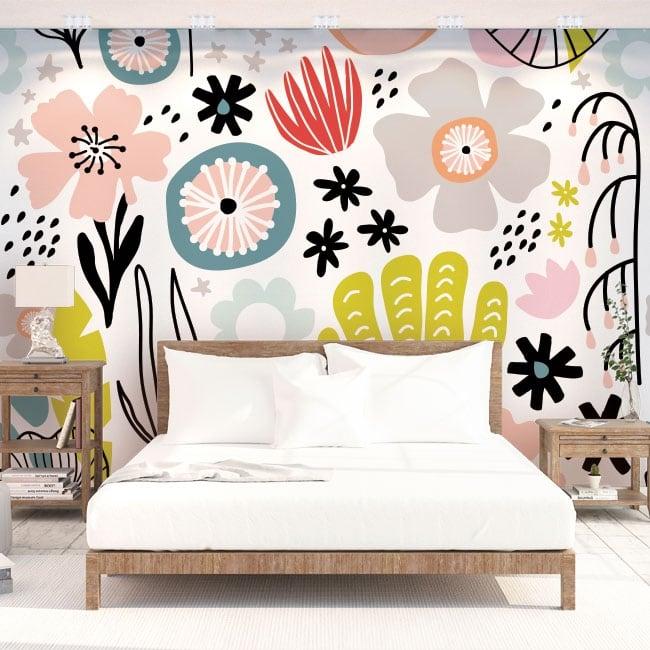 Peintures murales en vinyle fleurs colorées