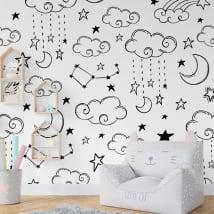 Peintures murales en vinyle nuages lune et étoiles