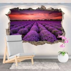 Vinyle mur de trou coucher de soleil champ de tournesols 3d