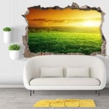 Vinyle mur de trou coucher de soleil dans la nature 3d