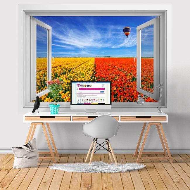 Vinyle murs fenêtre ballon et champ de fleurs 3d