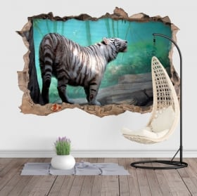 Vinyle et autocollants mur de trou tigre blanc 3d