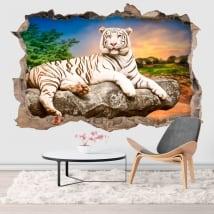 Vinyle mur de trou tigre blanc 3d