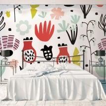 Peintures murales en vinyle avec des fleurs pour décorer