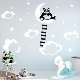 Vinyle et autocollants pour enfants panda sur la lune