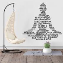 Vinyle et autocollants silhouette texte de yoga