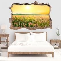 Vinyle mur de trou crépuscule fleurs dans le champ 3d