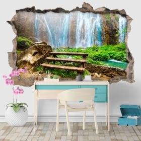Vinyle mur de trou chutes d'eau heo suwat thailande 3d
