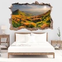 Vinyle mur de trou coucher de soleil dans les montagnes 3d