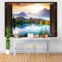 Vinyle et autocollants fenêtre coucher de soleil lac et montagnes 3d