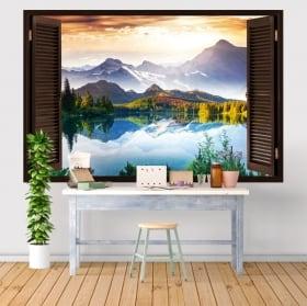 Vinyle décoratif fenêtre lever du soleil dans le domaine 3D