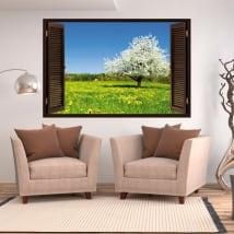 Vinyle fenêtre arbre de fleurs de cerisier 3d