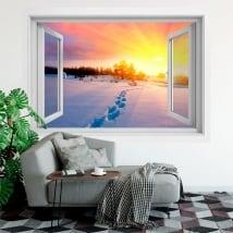Vinyle des fenêtres coucher de soleil lac et montagnes 3d