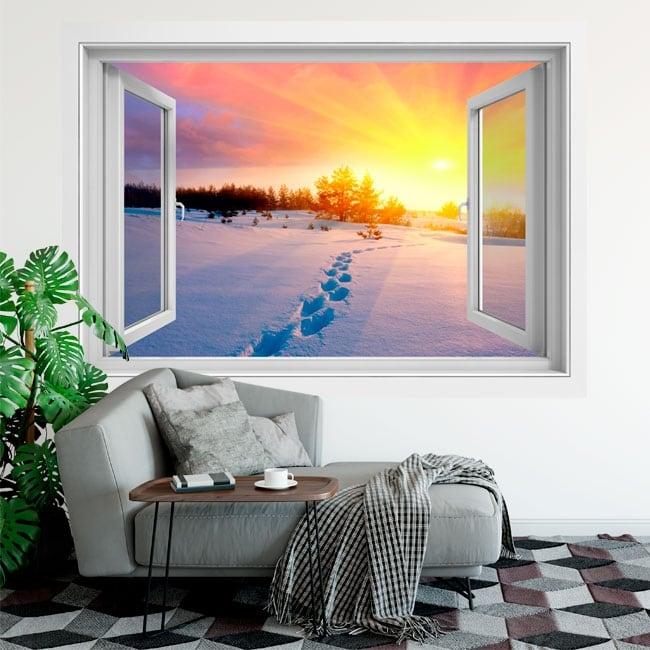 Vinyle fenêtre coucher de soleil d'hiver dans les montagnes 3d