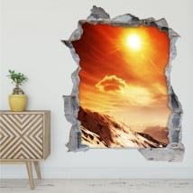 Vinyle et autocollants coucher de soleil dans les montagnes 3d