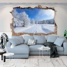 Vinyle mur de trou nature en hiver 3d