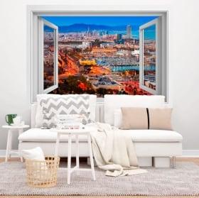 Vinyle des fenêtres ville de barcelone 3d