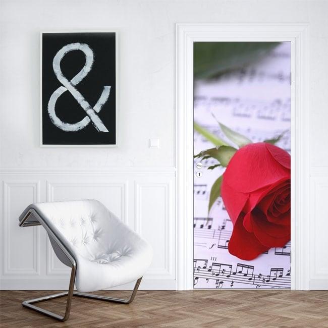Vinyle pour portes rose rouge et musique