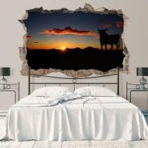 Vinyle mur de trou osborne taureau au coucher du soleil 3d
