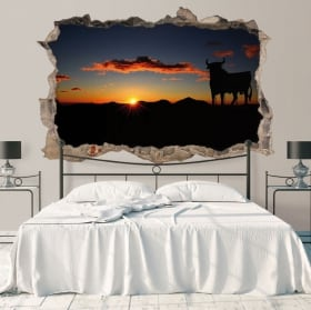 Autocollants 3D taureaux au coucher du soleil